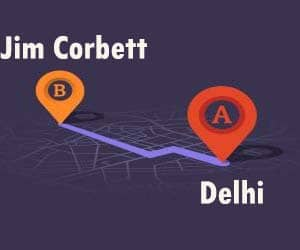 Delhi to Jim Corbett Distance, time and fare